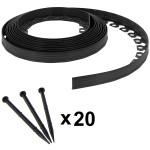 Bordure de jardin flexible noire - 5,5 cm x 10 mètres avec 20 piquets d'ancrage