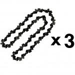 Lot de 3 chaînes 40 maillons pour tronçonneuse élagueuse