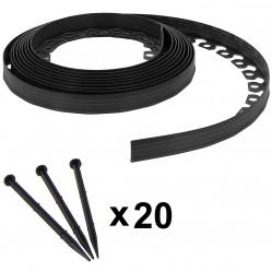 Bordure de jardin flexible noire - 3,8 cm x 10 mètres avec 20 piquets d'ancrage
