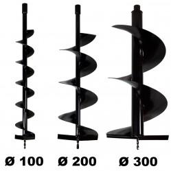 Lot de mèches Ø 100 + 200 + 300 mm pour tarière thermique