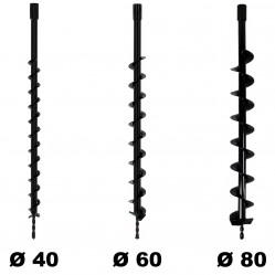 Lot de mèches Ø 40 + 60 + 80 mm pour tarière thermique