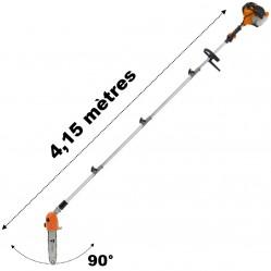 Élagueuse thermique sur perche avec tête orientable, 52 cm3, 3 CV, longueur 4.15 mètres