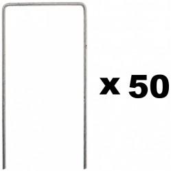 Lot de 50 piquets de fixation pour jardin en acier galvanisé - 70 x 200 mm