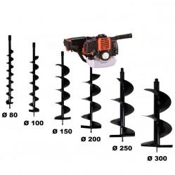 Tarière thermique 52 cm3 - 3 CV + lot de 6 mèches (80, 100, 150, 200, 250 et 300 mm)