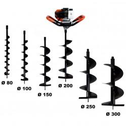Tarière thermique 52 cm3, 3 CV + lot de 6 mèches (80, 100, 150, 200, 250 et 300 mm)