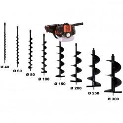 Tarière thermique 52 cm3 - 3 CV + lot de 8 mèches (40, 60, 80, 100, 150, 200, 250 et 300 mm)