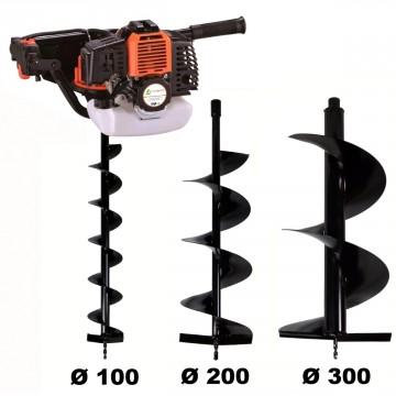 Tarière thermique 52 cm3, 3 CV + lot de 3 mèches (100, 200 et 300 mm)